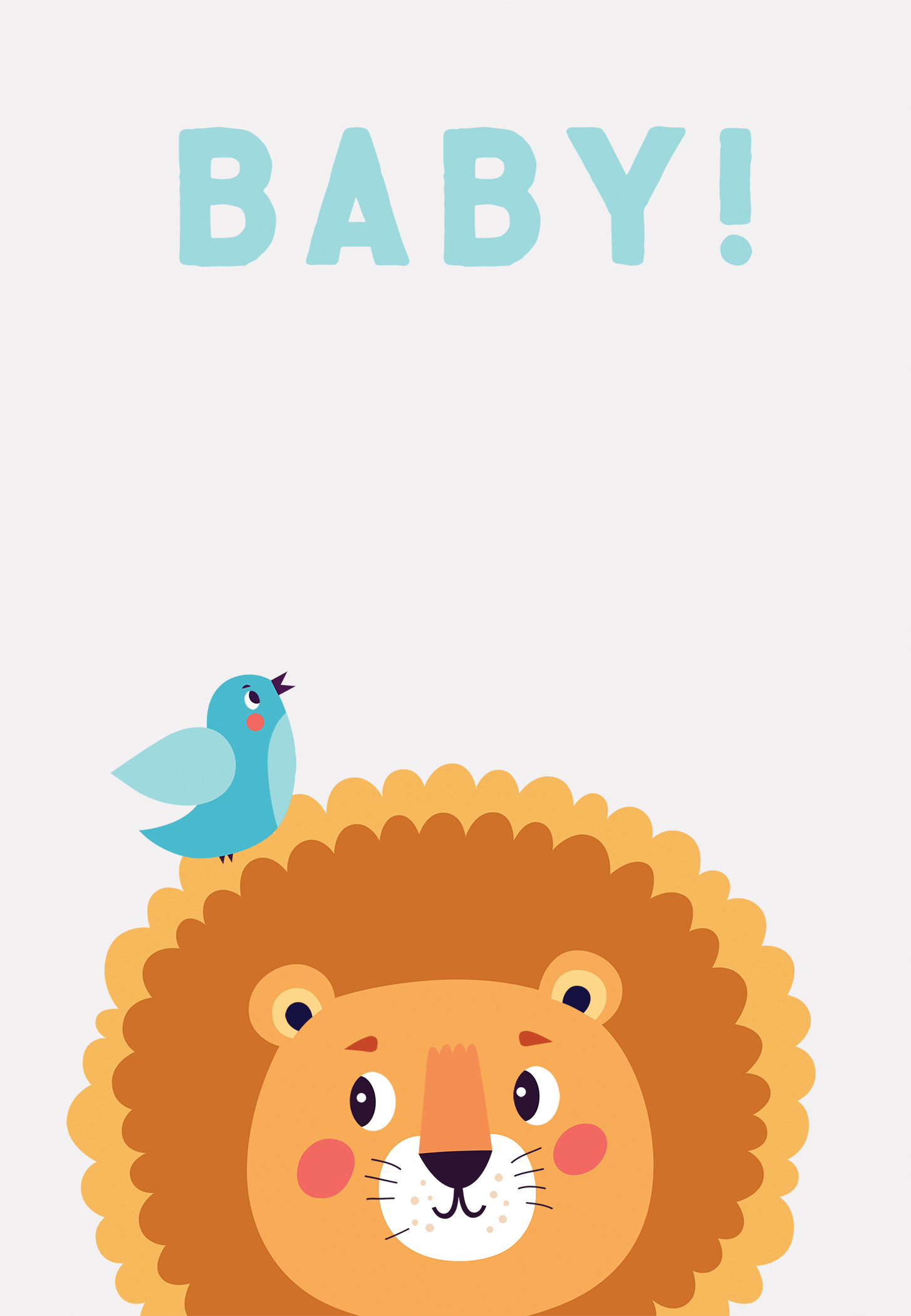 Lion and Bird Free Printable Baby Shower Invitation Template