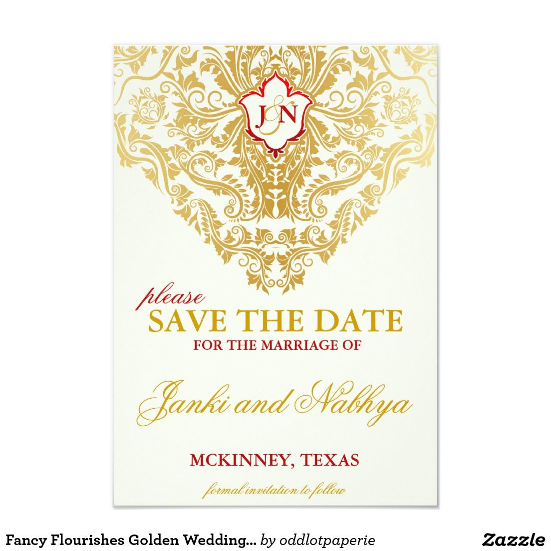 Fancy Flourishes Golden Wedding Save the Dates Save The Date ...