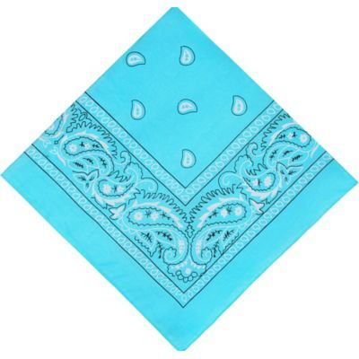 Turquoise Paisley Bandana, 20in x caribbean/blue