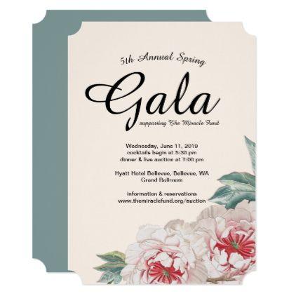 Peony Bouquet Gala Fundraiser Invitation  Invitations Custom