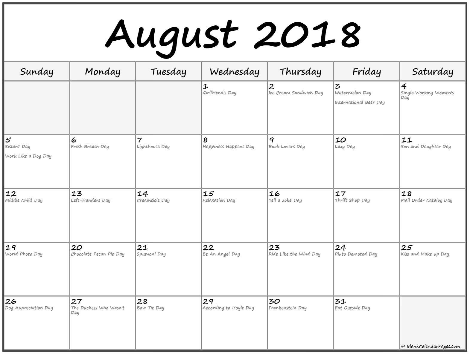 August 2018 Calendar With Holidays Funny August Calendar