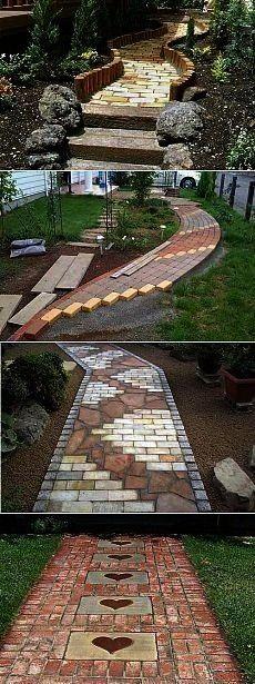 Brick garden paths 55 Cottagechki tips  Brick garden paths 55  With the Garden Path Maker Mold you can create a gorgeous cement or red mud garden path to enhance the bea...