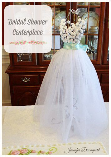 Bridal shower centerpiece ideas affordable and adorable for Wedding dress vase centerpiece
