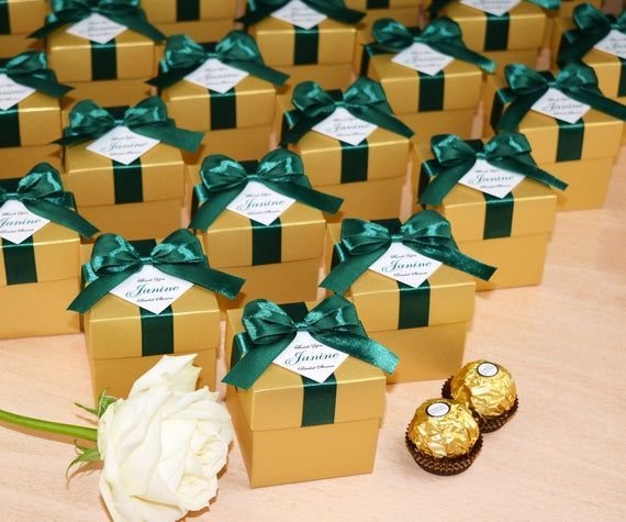 Chic Gold favor boxes with satin ribbon bow and custom tag, Bridal shower Bonbonniere, Elegant Personalized favor candy box with your name