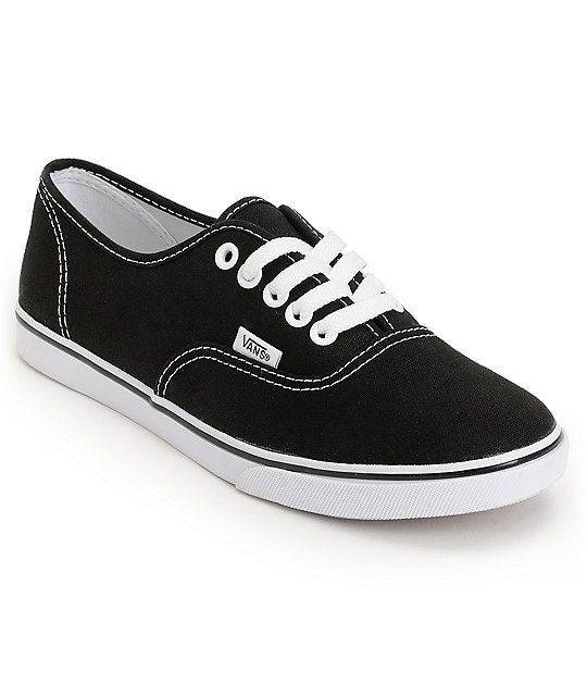904b16c65eb785 Get back to basics with the timeless Vans Authentic Lo Pro in the black and  white colorway. This classic girls Vans shoe has a low top silhouette with  an ...