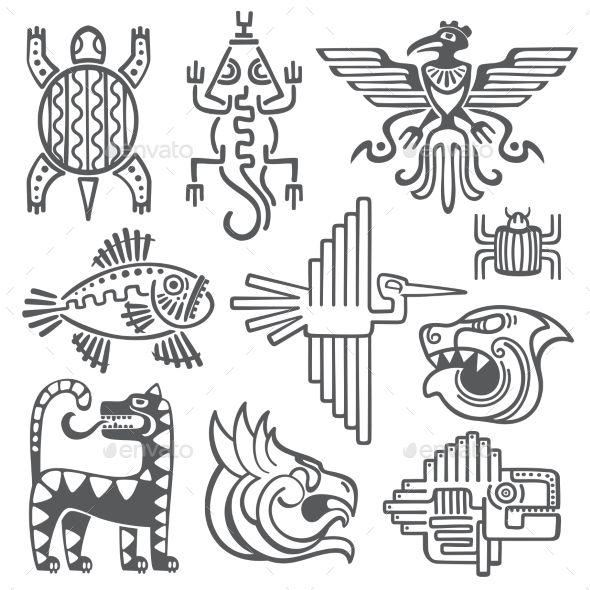 Historic Aztec Inca Vector Symbols Mayan Temple | Pinterest | Azteca ...