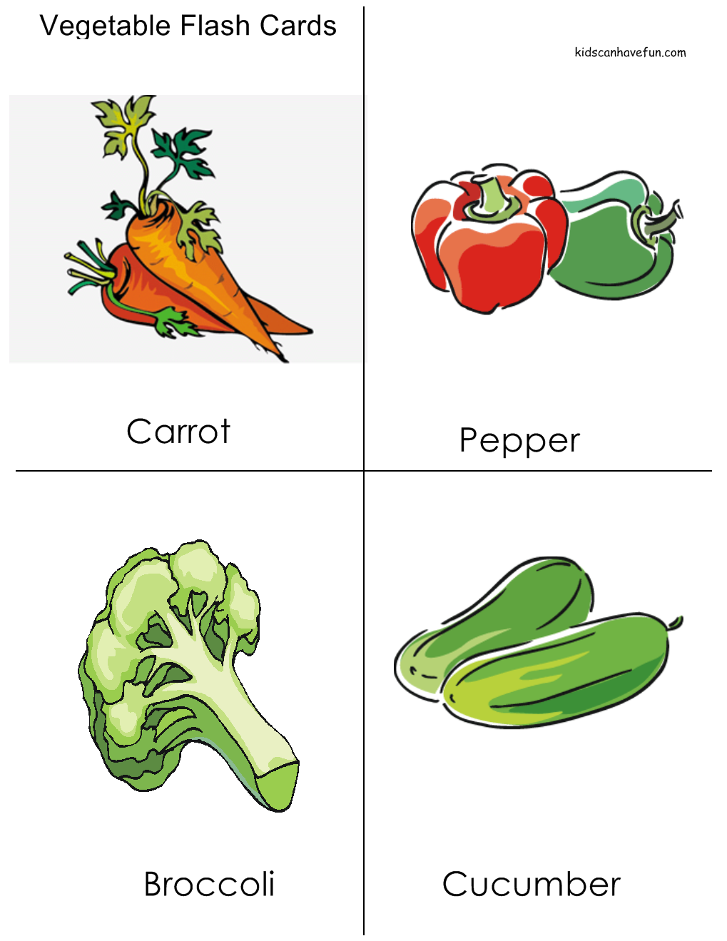 Vegetable Flashcards | Dental/ Nutrition Unit | Classroom