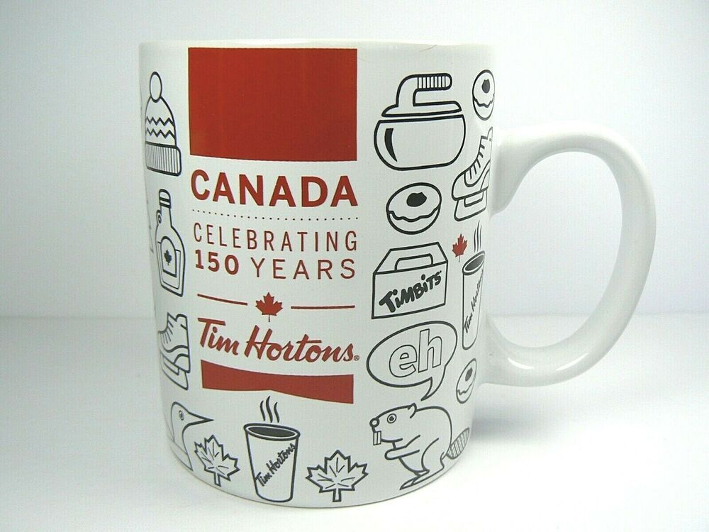 Tim Hortons Coffee Mug Canada 150 Anniversary Red White Ceramic Limited Ed Gift