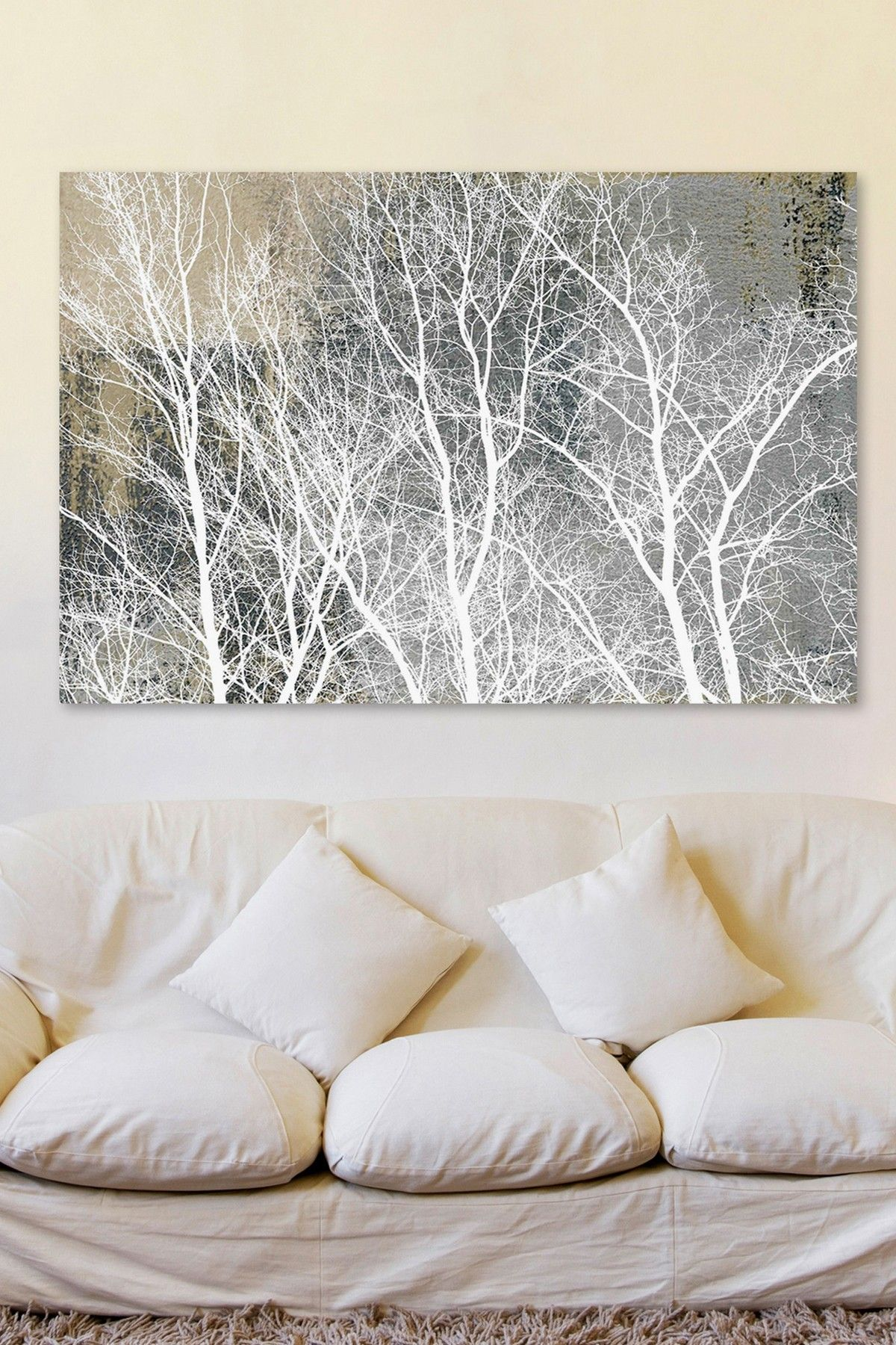 Parvez taj frosty white branches canvas wall art home pinterest