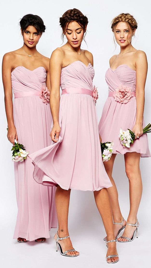 ASOS WEDDING Chiffon Midi Bandeau Dress With Detachable Corsage Belt ...
