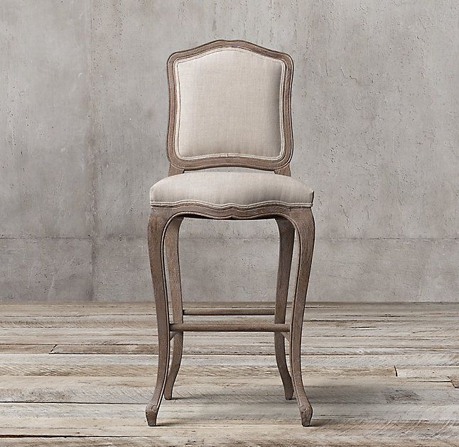 RH's Vintage French Camelback Fabric Stool:Our stool's curvaceous lines and generous padding recall the lavish style of 18th-century France, and the aesthetic favored by Louis XV. Distinguished by a scalloped seat, camelback and carved cabriole legs, the soft finish lends it modern understatement.