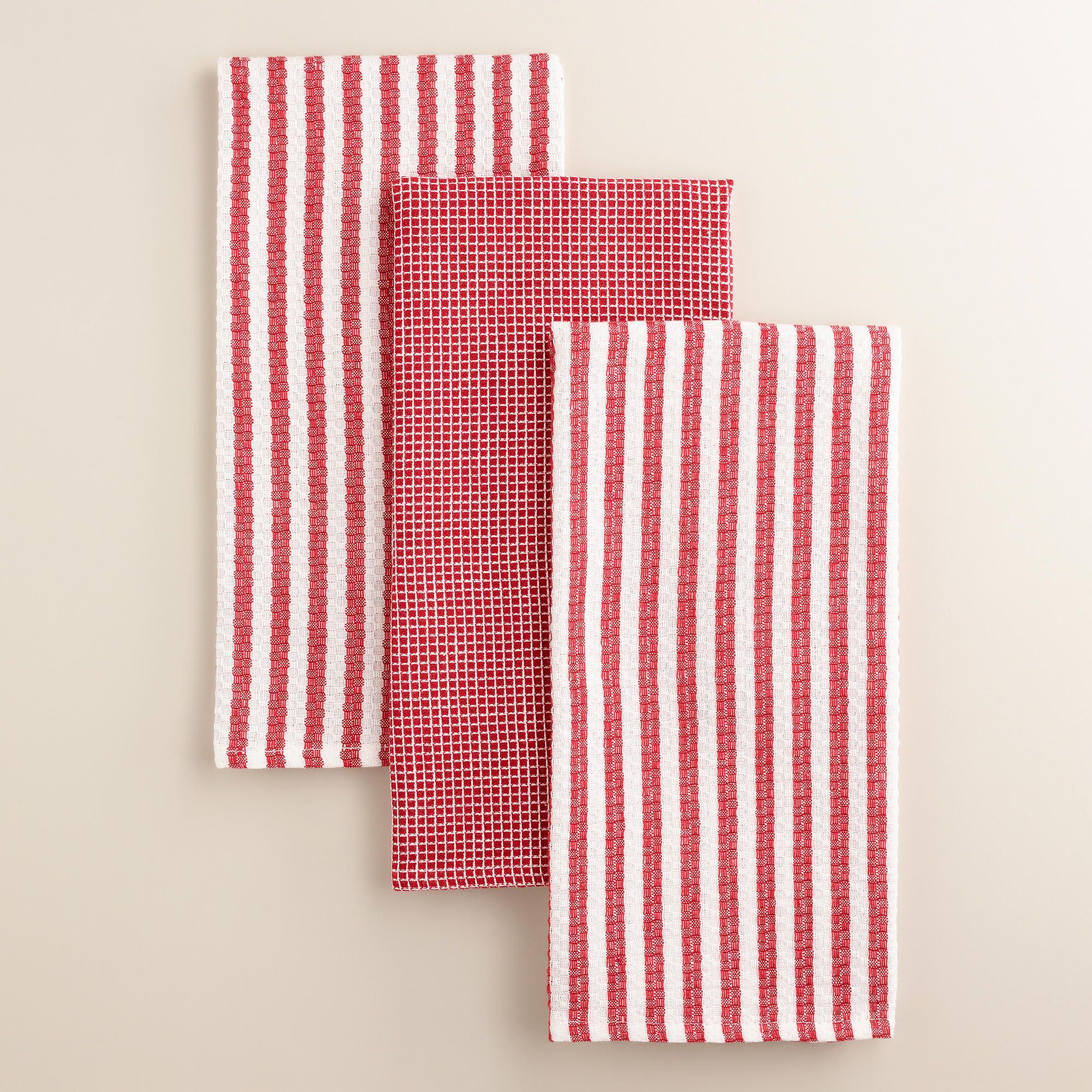 red waffle weave kitchen towel set of 3 world market for the