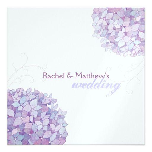 Lavender White Hydrangea Shimmer Wedding Card