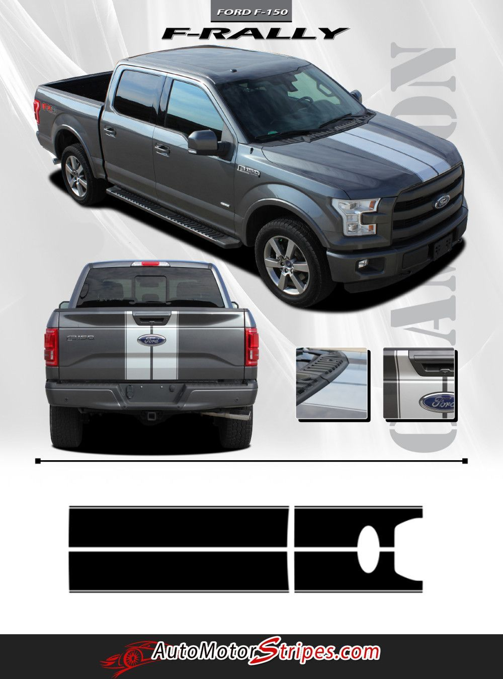 2015-2018 Ford Truck Hood Decal 15 FORCE HOOD Digital Stripe Decals Pro Install