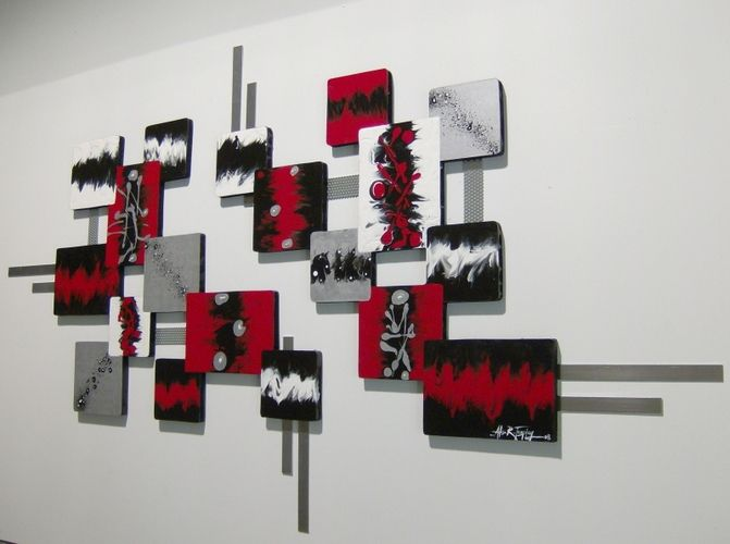 Bedrooms · Black Abstract Walls Painting With The Combination Of Red White .