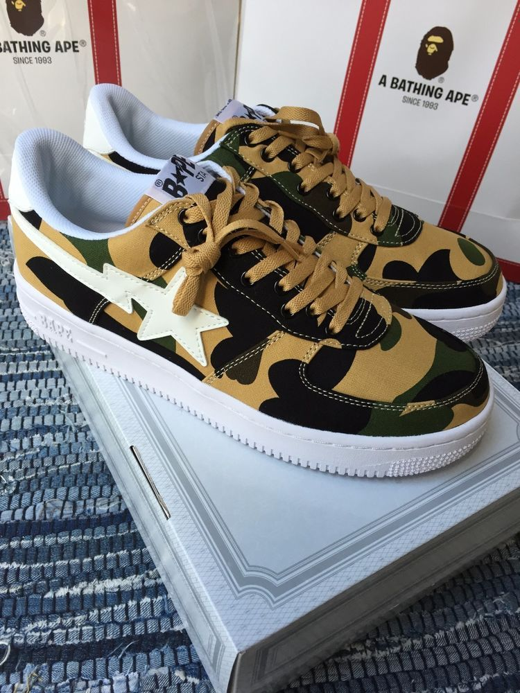 Sz 8 8.5 9 9.5 10 Bathing Ape Bape Sta 1st Camo Yellow Green Bapesta Air  Force in Clothing b7792c911