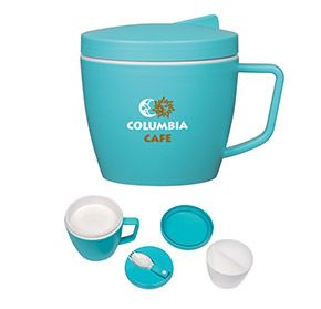 This promotional gift has everything you could possibly need! The Thermal Mug with Spoon and Fork Set features a 14-ounce mug and a gasket-fit lid with a built-in storage slot that holds a folding spoon and fork.