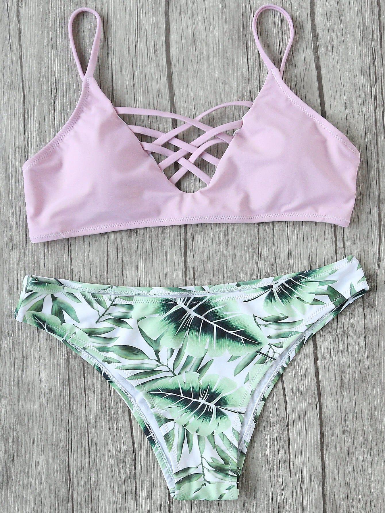 657c2516c016a Palm Tree Ladder Cutout Halter Bikini Set -SheIn(Sheinside)   ss20 ...