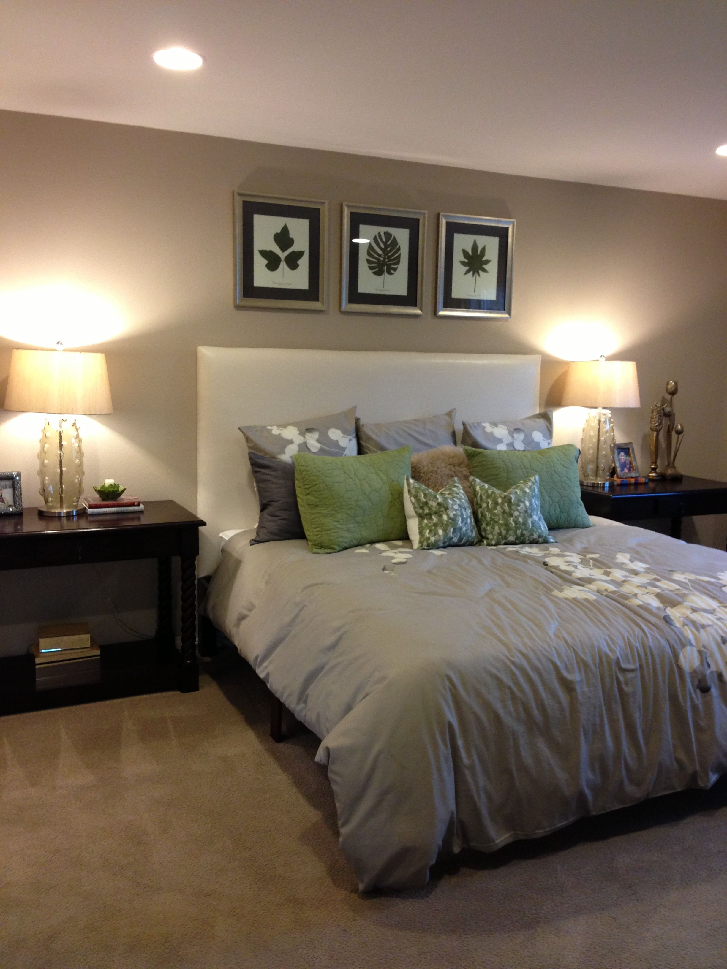 love the white headboard with colored walls