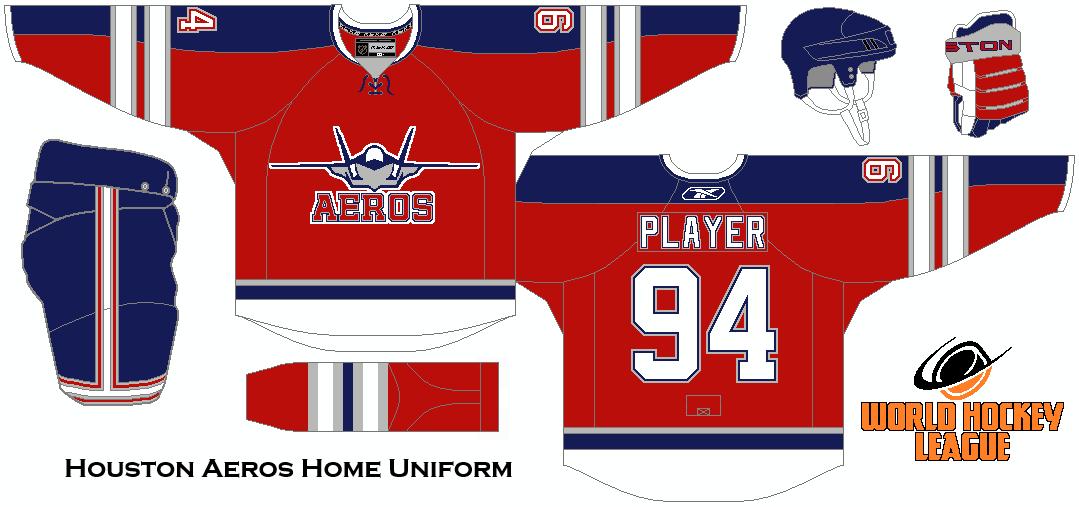 World Hockey League Houston Aeros Home Uniform Concept Fantasy Hockey Hockey Houston Aeros