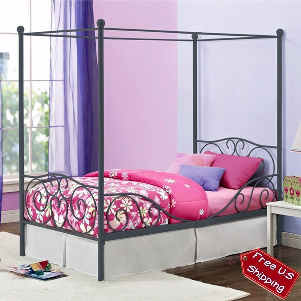 Canopy Solid Twin White Metal Bed Contemporary Girl Headboard Frame Princess #Contemporary