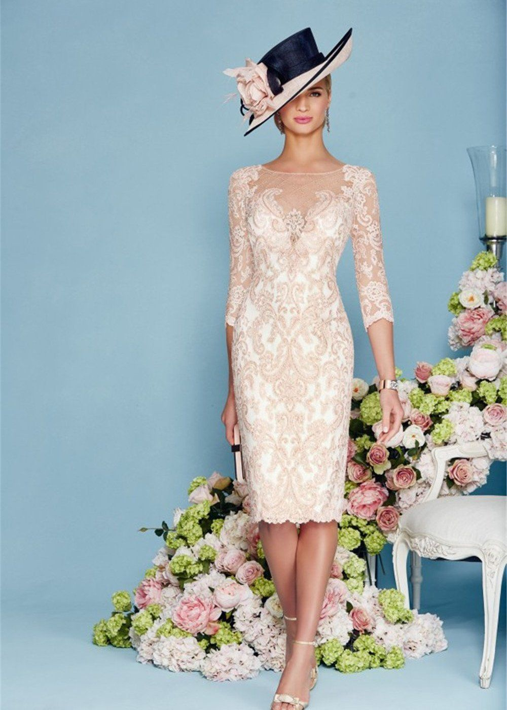 Light Pink Chiffon Lace Mother of the Bride Dress | Frock coat ...