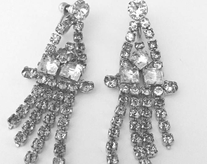 Vintage Long Dangle Rhinestone Earrings Old Hollywood Glamour 2 1 Inch Length Sparkling Jewels Pinterest