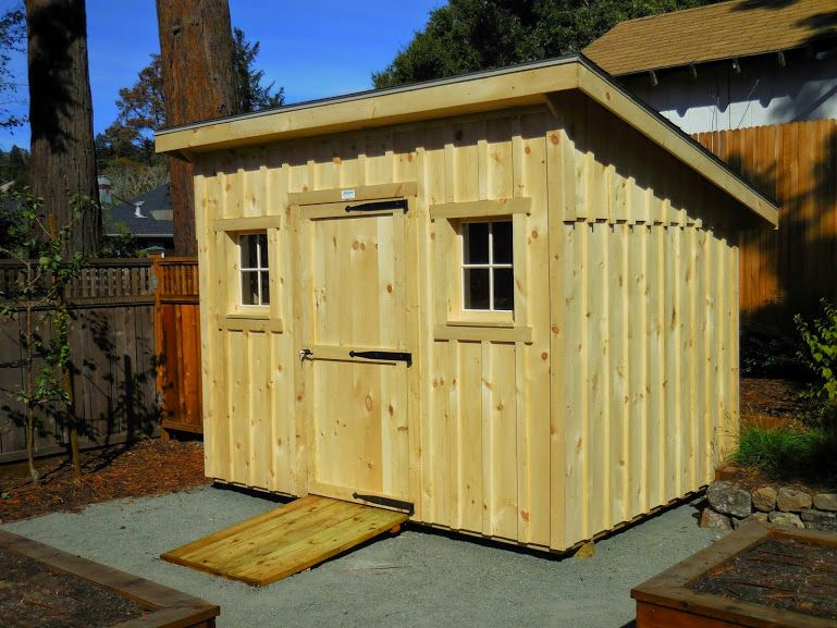 8x10 lean to garden shed with unstained board and batten siding