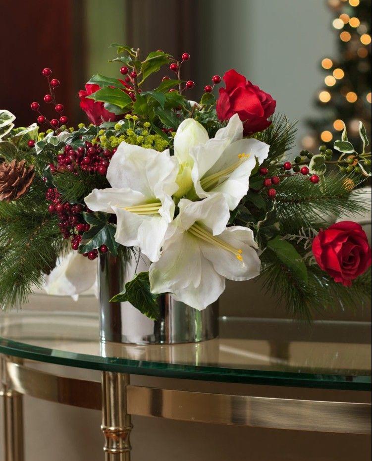 amaryllis blumengestecke weiss blueten rosen tannenzapfen amarillesdeko pinterest. Black Bedroom Furniture Sets. Home Design Ideas