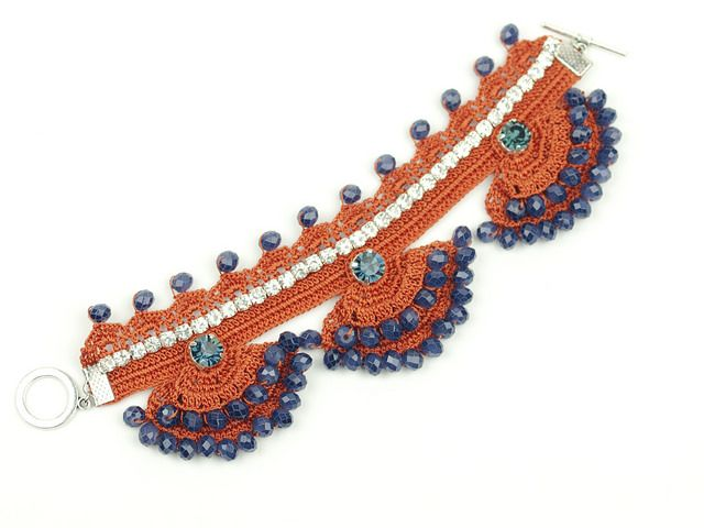 Freeform Orange Cuff - Crochet Lace - Swarovski Elements - Czech ...