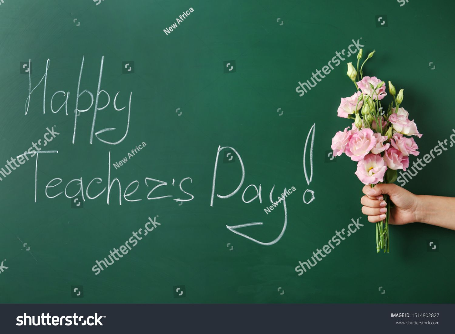 Woman Holding Flowers Near Green Chalkboard With Inscription Happy Teacher S Day Closeup View Sponsored In 2020 Holding Flowers Green Chalkboard Chalkboard Flowers