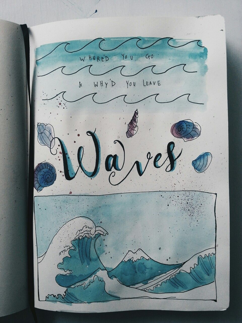 Watercolour Waves Tumblr Watercolor Journal Art Journal Pages