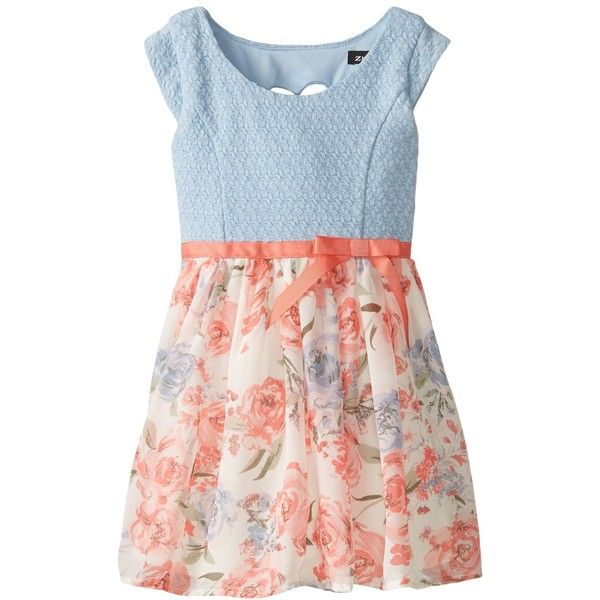 Zunie Little Girls' Floral Knit-To-Chiffon Dress (€12) ❤ liked on Polyvore featuring baby girl, dresses and kids