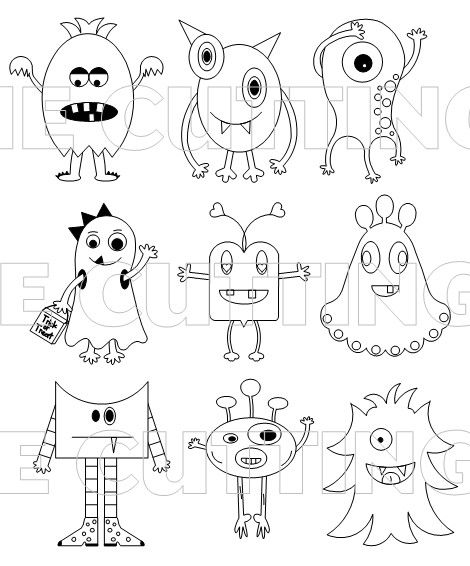 monster with pencil coloring pages - photo#4