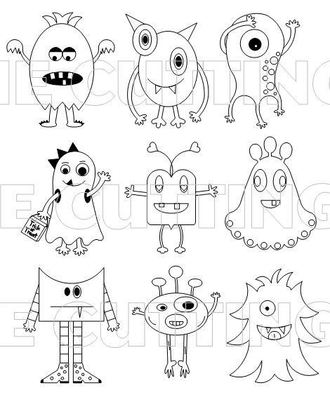 Simple Monster Drawing : simple, monster, drawing, Printable, Cutting