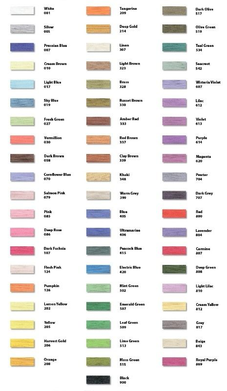 Brother Chart Colours And Numbers Embroidery Pinterest