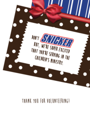 Snickers Thank You Note  Volunteers    Appreciation