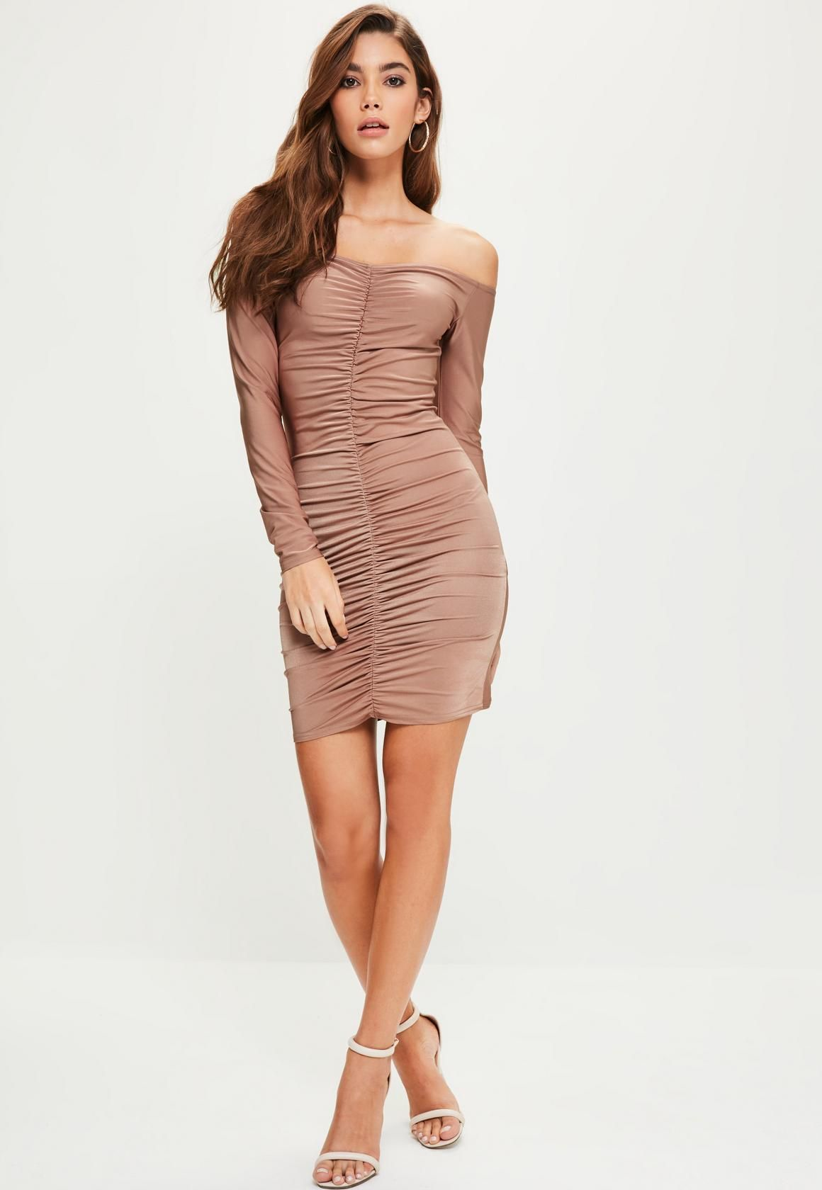 2c17830258e8 Missguided - Pink Slinky Ruched Front Bardot Long Sleeve Mini Dress ...