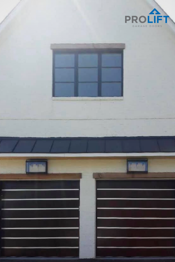 Wood Garage Doors With Aluminum Strips For Modern Farmhouse In 2020 Contemporary Garage Doors Modern Garage Doors Faux Wood Garage Door