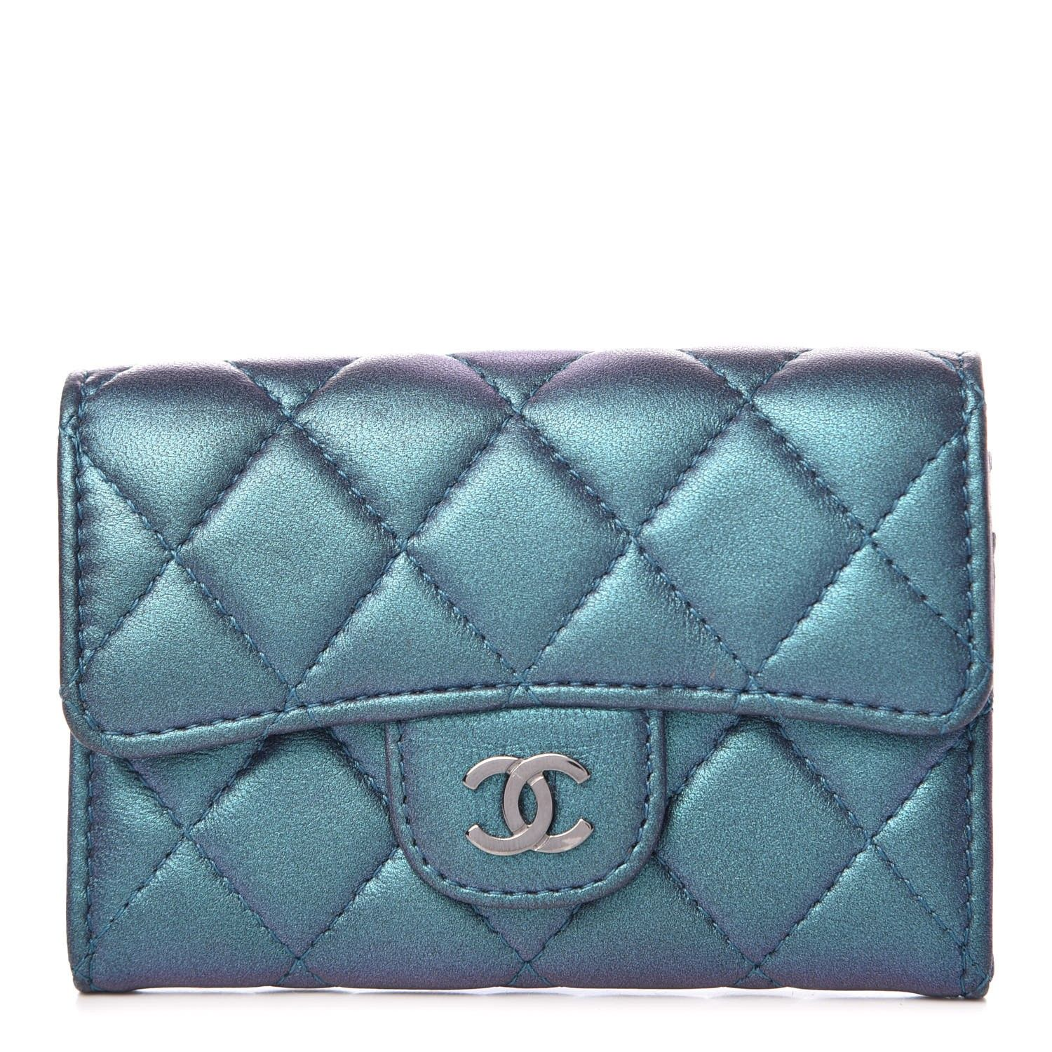 CHANEL Iridescent Lambskin Quilted Card Holder Blue
