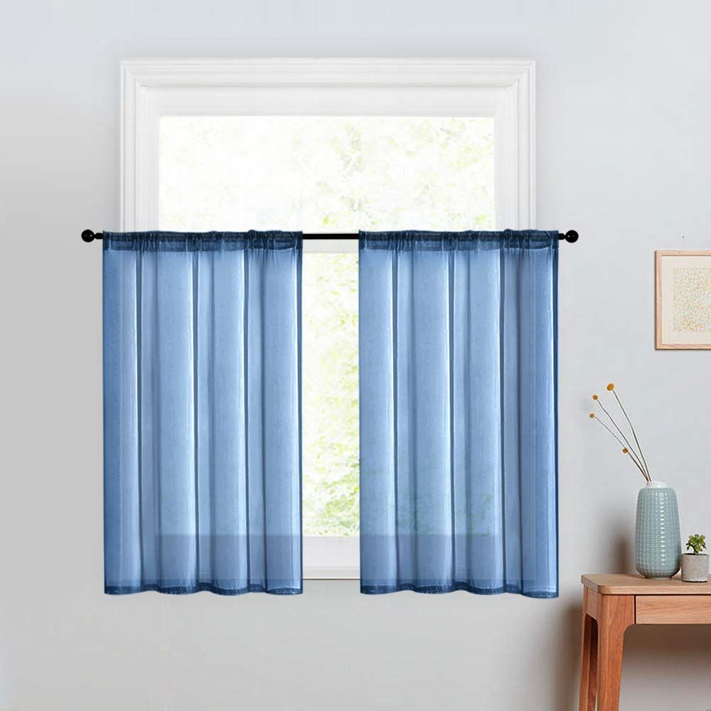 Mrtrees Kitchen Tier Curtains Sheer 36 Inches Long Window Curtain Tiers Bathroom Small Window Voile Cafe Curta In 2020 Cafe Curtains Blue Curtains Living Room Curtains #tier #curtains #for #living #room
