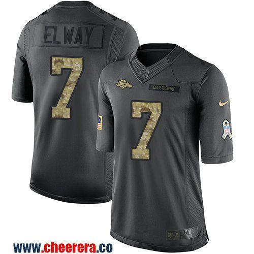 83a91cd743 Men s Denver Broncos  7 John Elway Black Anthracite 2016 Salute To Service  Stitched NFL Nike Limited Jersey