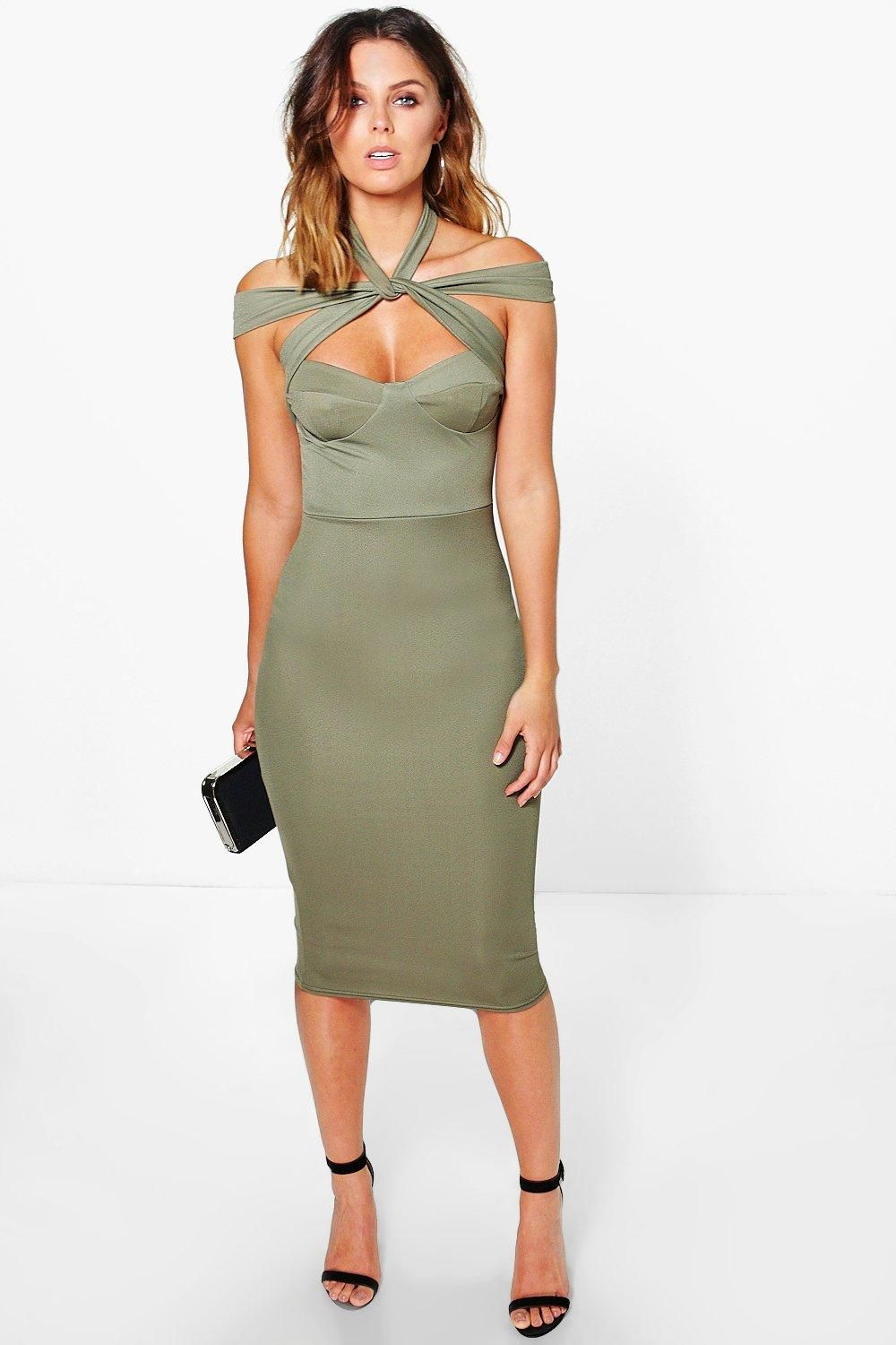 9be8e6daf311 Strappy Top Detail Midi Bodycon Dress | wanted list | Bodycon Dress ...
