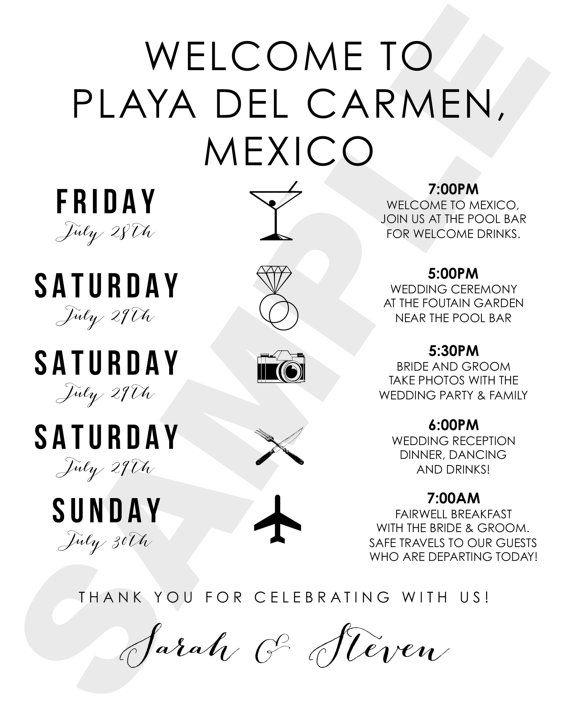 Playa Del Carmen, Mexico Destination Wedding Welcome Bag