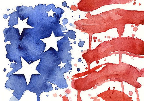 American Flag Watercolor Painting Art Print by Olga Shvartsur #americanflagart