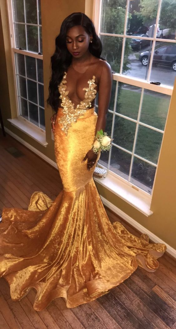 58d5ab9f62d2 Chic new fashion 2018 Lace Appliques Long Yellow Prom Dresses,Long Prom  Dress Sexy evening Gowns for teens - Thumbnail 1