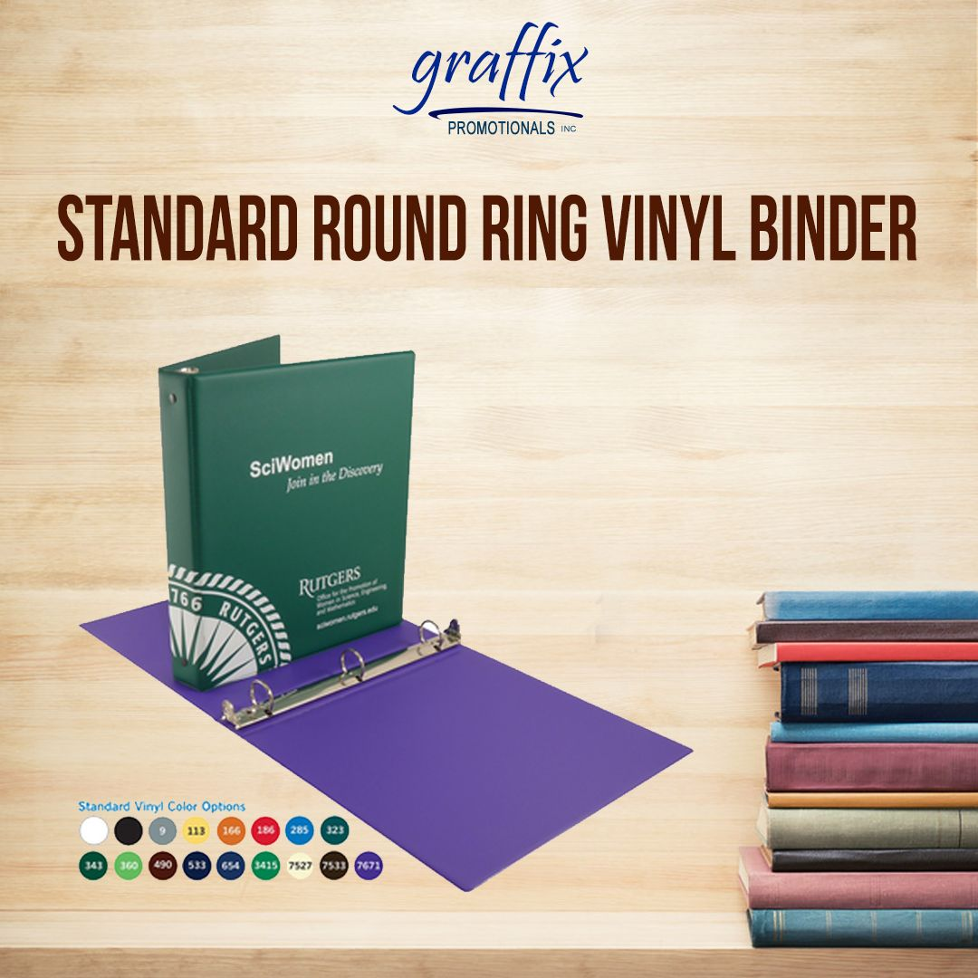 Standard Round Ring Vinyl Binder Designed For Continual Use And A Popular Binder Size Holds 200 Loose Leaf Pages Consider Fo Binder Sizes Binder Design Vinyl