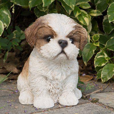 Hi Line Gift Ltd Sitting Shih Tzu Puppy Garden Statue Brown
