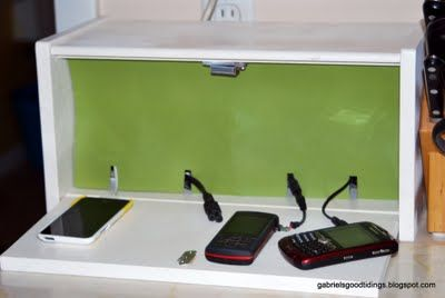 Gabriel's Good Tidings: Charger Station - Bread Box Repurposed!