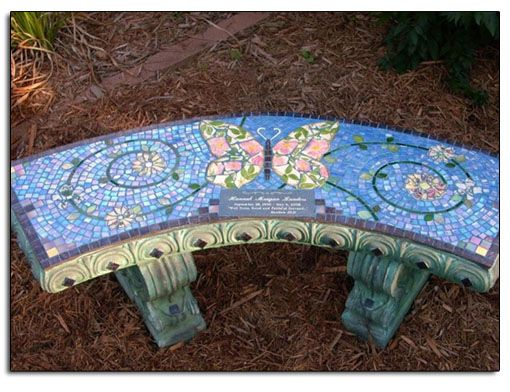mosaic garden sculptures – Memorial Garden Bench